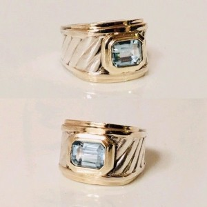 David Yurman Sterling Silver and 14K Yellow Gold Blue Topaz Cigar Band Ring Size 5.25