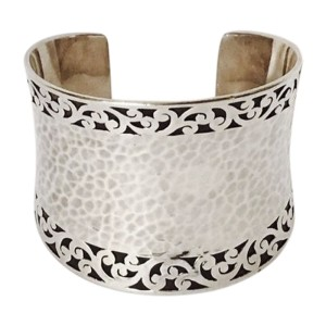 Lois Hill 925 Sterling Silver Wide Hammered Scroll Cuff Bracelet