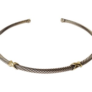 David Yurman Sterling Silver and 14K Yellow Gold X Station Crossover Cable Choker Necklace