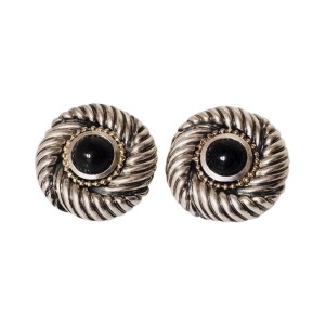 David Yurman Sterling Silver and 14K Yellow Gold with Black Onyx Earrings