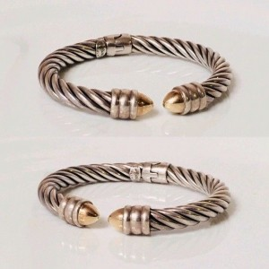 Alisa 925 Sterling Silver & 18K Yellow Gold Hinged Cable Cuff Bracelet