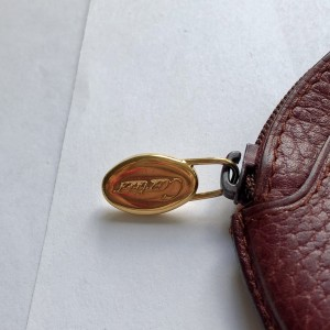 Vintage Maroon Leather Money Wallet with Cartier Certificate & Box