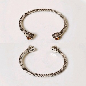 Robert Manse 925 Sterling Silver and 18K Yellow Gold with Citrine Cable Cuff Bracelet