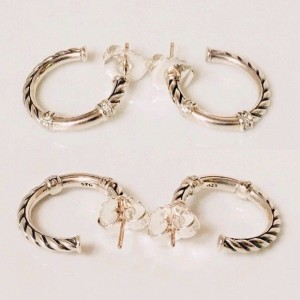 David Yurman Metro 925 Sterling Silver with 0.10ctw Diamond Hoop Earrings