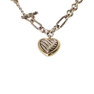 David Yurman 925 Sterling Silver & 18K Yellow Gold Cable Heart Figaro Toggle Necklace