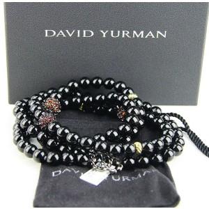 "DAVID YURMAN ST. SILVER 18K GOLD 36"" BLACK ONYX & GARNET OSETRA NECKLACE"