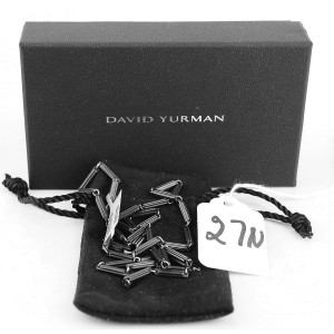 DAVID YURMAN STERLING SILVER TITANIUM 3mm ROYAL CORD CHAIN NECKLACE
