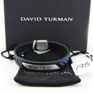 David Yurman 925 Sterling Silver with Blue & Black Leather Graphic Cable Bracelet