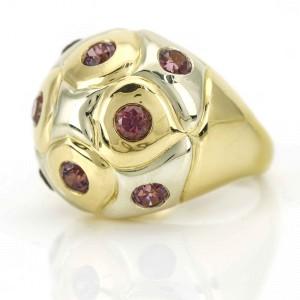 Bulgari 18K White Gold, 18K Yellow Gold Sapphire, Tourmaline Ring Size 6
