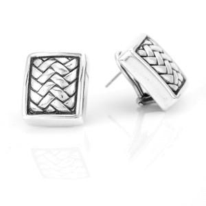 Kieselstein-Cord Woven Rectangular Earrings in Sterling Silver