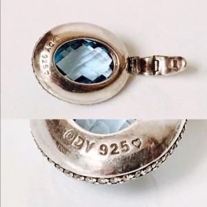 David Yurman Sterling Silver Topaz Diamond Pendant