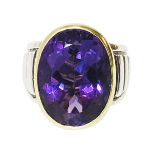 Lagos Caviar 18K Yellow Gold Sterling Silver Amethyst Ring Size 7