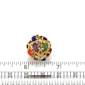 14K Yellow Gold Lapis, Citrine, Coral, Amethyst Pendant