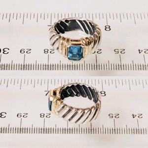 David Yurman 14K Yellow Gold Sterling Silver Topaz Ring Size 6.5