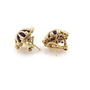 Tiffany & Co. Schlumberger Blue Enamel 18k Gold Fancy Post Clip Earrings