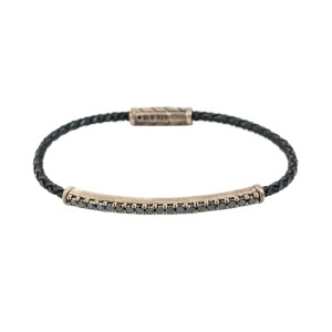 David Yurman Chevron 925 Sterling Silver Bracelet 1.57 Ct Black Diamonds Size 8""