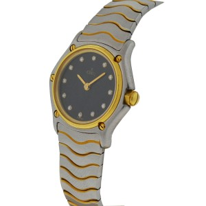 Ebel Two Tone Wave Black Diamond Dial Watch
