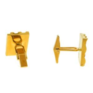 14k Yellow Gold Square Ridged Cufflinks