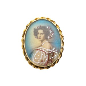 Painted Victorian Lady Portrait 14K Yellow Gold Pin Brooch Pendant 5.8 Grams