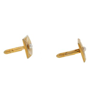 Stainless Steel Gold Plated Square Center Pearl Cufflinks