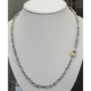 David Yurman Long Two Tone Interlocking Chain Necklace