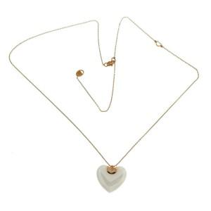 "Auth DAMIANI D-Icon Ceramic 18K Gold Diamond Heart Necklace Size 20"" $1728"