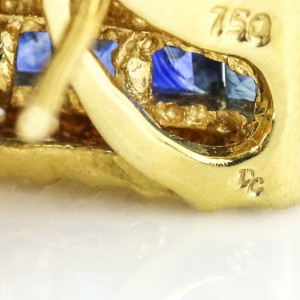 Blue Sapphire and Diamond Earrings in 18k Yellow Gold