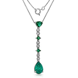 """0.12 CT Diamonds 2.20 CT Colombian Emerald 14K White Gold Drop Necklace 16""""-18"""""""