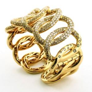 Crivelli 18k Rose Gold Champagne Diamond Hinged Bangle Bracelet