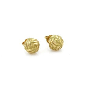 66257c998 Tiffany & Co. 18k Yellow Gold Textured Woven Love Knot Stud Earrings ...