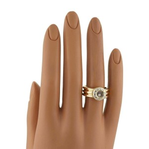 Chopard Happy Diamond 18k Yellow Gold Diamond Bezel Ribbed Band Ring Size 7