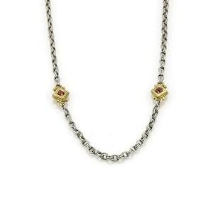 Judith Ripka Pink Tourmaline Necklace in 18k Yellow Gold & Sterling Silver