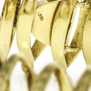 18k Yellow Gold Oval Textured Link Vintage Bracelet