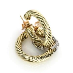 David Yurman Diamond 14k Two Tone Gold Cable X Design Hoop Earrings