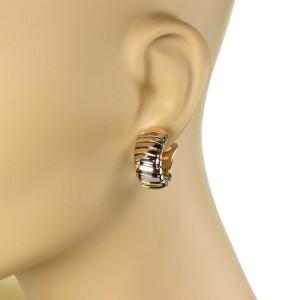 Bulgari Bulgari Tubogas 18k Yellow Gold & Steel Oval Hoop Earrings