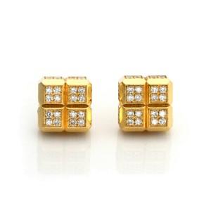 Chopard Diamond Ice Cube 18k Yellow Gold Square Stud Earrings