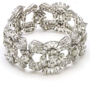 20.00 Carat Platinum Diamond Art Deco Bracelet