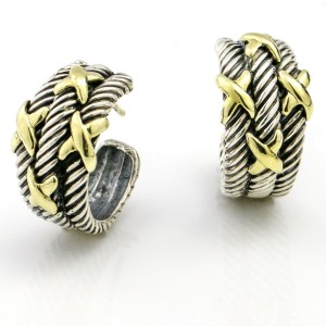 David Yurman X Cable Hoop Earrings in Sterling Silver and Gold