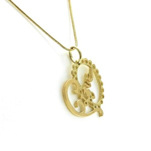 "Tous 18K Yellow Gold Heart Love Bear Necklace Size 16"" »U112"