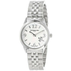 Raymond Well Freelancer 5670 Womens Quartz Watch MOP Dial Stainless Steel 29mm