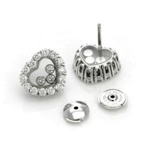 Chopard Happy 1.34ct Diamond 18k Gold 3 Floating Diamond Heart Stud Earrings