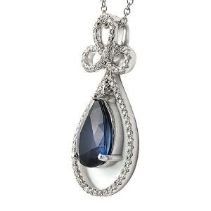 """0.30 CT Diamonds 2.99 CT Blue Sapphire 14K White Gold Drop Necklace 18"""""""