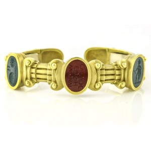 Keiselstein-Cord 18k Yellow Gold Bloodstone Intaglio Cuff Bangle Bracelet