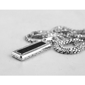 "JOHN HARDY ST. SILVER CLASSIC CHAIN PAVE DIAMONDS VOLCANIC ROC NECKLACE 26"""
