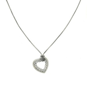 David Yurman Large Pave Diamond Cable Heart Sterling Silver Necklace