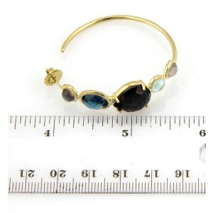 Ippolita Rock Candy Gelato Quartz & Topaz 18k Yellow Gold Hoop Earrings