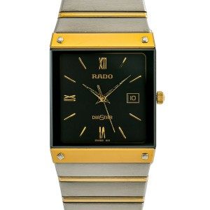 Rado Diaster 129.0271.3 Mens Quartz Watch Black Dial Two Tone SS 27mm