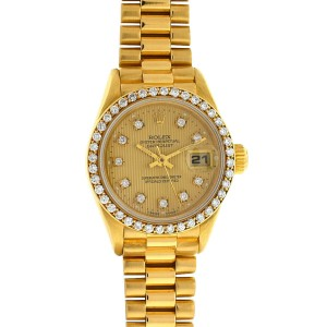 Rolex 69178 18k Yellow Gold Ladies President Diamond Dial and Bezel Watch