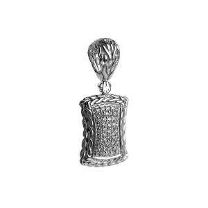 JOHN HARDY STERLING SILVER CLASSIC CHAIN DIAMOND 0.36TCW ENHANCER PENDANT 16DT