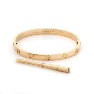 Cartier Love Bangle New Screw in 18k Rose Gold w/Screwdriver & Cert Size 18